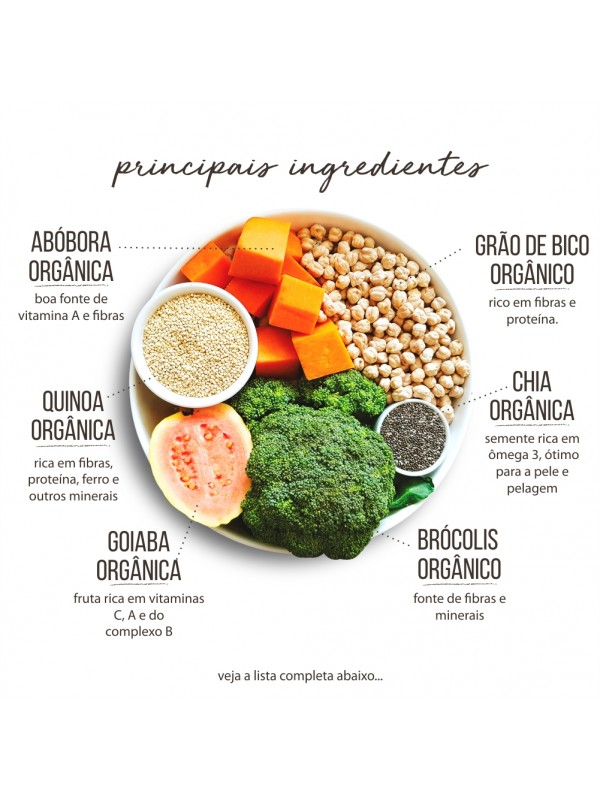 Comidinha com Ingredientes Orgânicos para cães Veggie 1kg