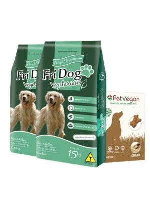 Kit 2 pacotes 15kg Fri Dog vegetariana + Biscoito PetVegan